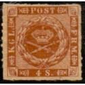 1863. 4 Skilling, brun, AFA nr. 9 **/MNH