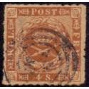 1863. 4 Skilling, brun, AFA nr. 9 stempelt/used