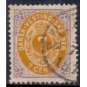 DWI 1873-4 7 Cent Tofarvede stemplet St. Thomas