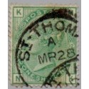 GB/DWI 1873 1 Sh. green cancelled St. Thomas