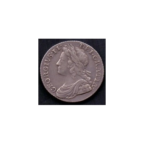 England-Great Britain. 1757 George II Sixpence KM582, Ag,