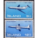 Island. 1969. Islands lufttransport. AFA nr. 433-34 st.