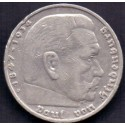 Tyskland-Germany. 1936 5 Mark Coin (1847 - 1934 Paul Von Hindenburg). Ag.