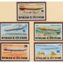 Cote D'ivoire 1977 Zeppelin imperforated set,Michel 517-21 **/MNH