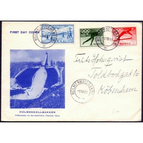 Norge/Norway 1951 Vinterolympiade på FDC